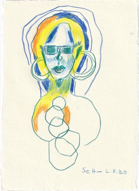 Tagebucheintrag 02.11.2020, Ein Ring sie alle zu knechten, 20 x 15 cm, Buntstift auf Silberburg Büttenpapier, Zeichnung von Susanne Haun (c) VG Bild-Kunst, Bonn 2020