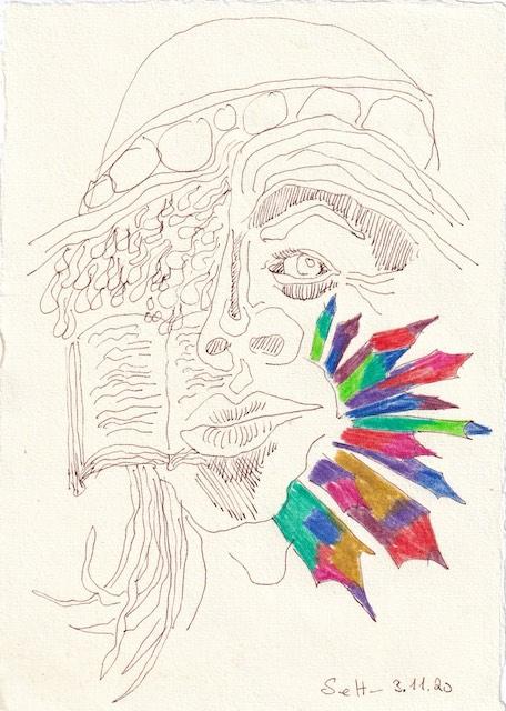 Tagebucheintrag 03.11.2020, Klimawandel, 20 x 15 cm, Tinte und Buntstift auf Silberburg Büttenpapier, Zeichnung von Susanne Haun (c) VG Bild-Kunst, Bonn 2020