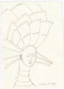 Tagebucheintrag 04.11.2020, Eine Turnine ist weiblich, 20 x 15 cm, Tinte auf Silberburg Büttenpapier, Zeichnung von Susanne Haun (c) VG Bild-Kunst, Bonn 2020