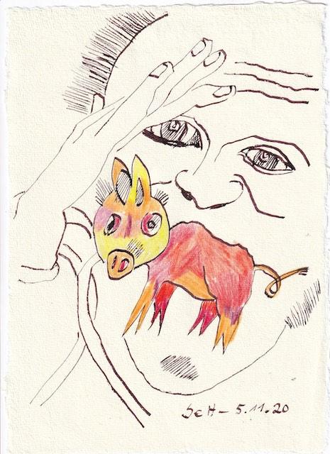 Tagebucheintrag 05.11.2020, Glück gehabt, ist Schwein, 20 x 15 cm, Tinte und Buntstift auf Silberburg Büttenpapier, Zeichnung von Susanne Haun (c) VG Bild-Kunst, Bonn 2020