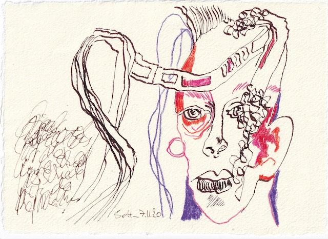 Tagebucheintrag 07.11.2020, Verbunden mit der KI, 20 x 15 cm, Tinte und Buntstift auf Silberburg Büttenpapier, Zeichnung von Susanne Haun (c) VG Bild-Kunst, Bonn 2020