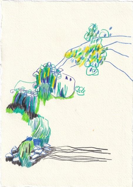 Tagebucheintrag 11.11.2020, Erinnerung an Berchtesgaden, 20 x 15 cm, Buntstift auf Silberburg Büttenpapier, Zeichnung von Susanne Haun (c) VG Bild-Kunst, Bonn 2020