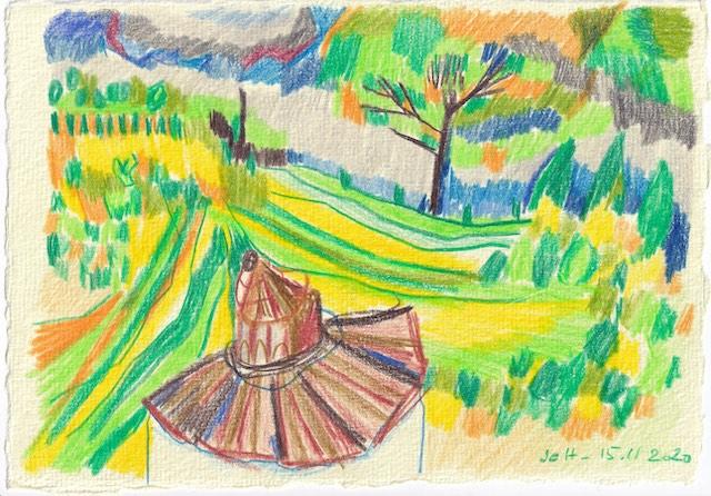 Tagebucheintrag 15.11.2020, Sehnsucht nach der Toskana, 20 x 15 cm, Buntstift auf Silberburg Büttenpapier, Zeichnung von Susanne Haun (c) VG Bild-Kunst, Bonn 2020