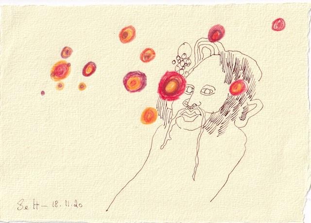 Tagebucheintrag 18.11.2020, Schon zu Frühlingsanfang, 20 x 15 cm, Tinte und Aquarell auf Silberburg Büttenpapier, Zeichnung von Susanne Haun (c) VG Bild-Kunst, Bonn 2020