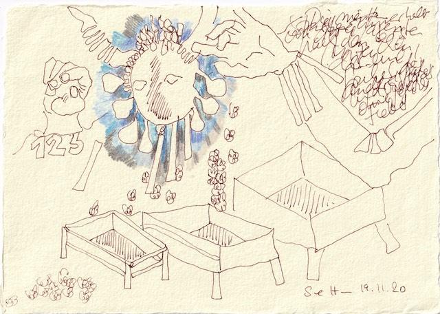 Tagebucheintrag 19.11.2020, Sie starben innerhalb von drei Tagen, 20 x 15 cm, Tinte und Aquarell auf Silberburg Büttenpapier, Zeichnung von Susanne Haun (c) VG Bild-Kunst, Bonn 2020