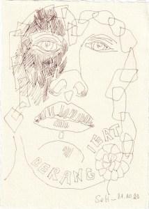 Tagebucheintrag 21.10.2020, Derangiert, 20 x 15 cm, Tinte und Buntstift auf Silberburg Büttenpapier, Zeichnung von Susanne Haun (c) VG Bild-Kunst, Bonn 2020
