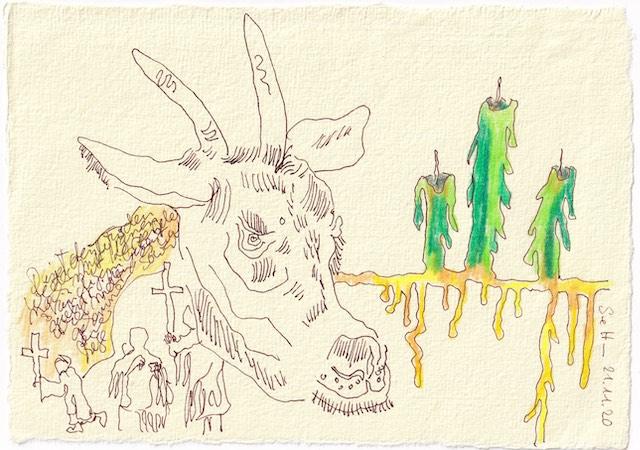 Tagebucheintrag 21.11.2020, Um wen kümmert man sich, 20 x 15 cm, Tinte und Aquarell auf Silberburg Büttenpapier, Zeichnung von Susanne Haun (c) VG Bild-Kunst, Bonn 2020