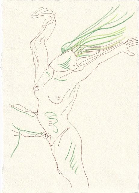 Tagebucheintrag 23.11.2020, Filomena die dritte, 20 x 15 cm, Tinte und Aquarell auf Silberburg Büttenpapier, Zeichnung von Susanne Haun (c) VG Bild-Kunst, Bonn 2020