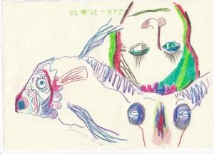 Tagebucheintrag 24.10.2020, Dreh und Wende dich, Version 1, 20 x 15 cm, Buntstift auf Silberburg Büttenpapier, Zeichnung von Susanne Haun (c) VG Bild-Kunst, Bonn 2020