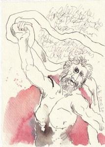Tagebucheintrag 25.10.2020, Laokoon, 20 x 15 cm, Tinte und Aquarell auf Silberburg Büttenpapier, Zeichnung von Susanne Haun (c) VG Bild-Kunst, Bonn 2020