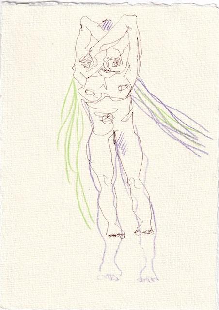 Tagebucheintrag 25.11.2020, Die sechste Neifili, 20 x 15 cm, Tinte und Aquarell auf Silberburg Büttenpapier, Zeichnung von Susanne Haun (c) VG Bild-Kunst, Bonn 2020