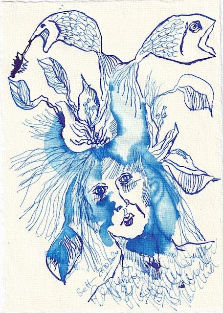 Tagebucheintrag 27.10.2020, Die kleine Meerjungfrau, 20 x 15 cm, Tinte auf Silberburg Büttenpapier, Zeichnung von Susanne Haun (c) VG Bild-Kunst, Bonn 2020