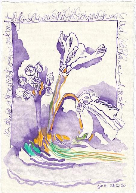 Tagebucheintrag 28.10.2020, Glaube an den letzten Versuch, 20 x 15 cm, Tinte und Buntstift auf Silberburg Büttenpapier, Zeichnung von Susanne Haun (c) VG Bild-Kunst, Bonn 2020