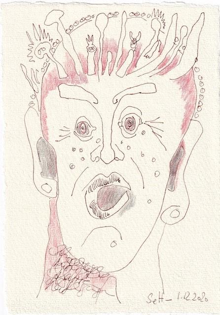 Tagebucheintrag 01.12..2020, Dekameron, Dann packt mich das Grauen, Version 2, 20 x 15 cm, Tinte und Buntstift auf Silberburg Büttenpapier, Zeichnung von Susanne Haun (c) VG Bild-Kunst, Bonn 2020