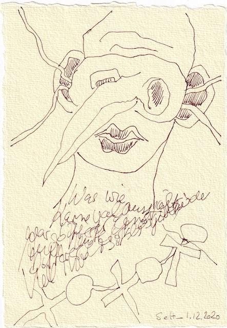 Tagebucheintrag 01.12.2020, Dekameron, Was wie Karneval aussieht ist bitterer Ernst, 20 x 15 cm, Tinte und Buntstift auf Silberburg Büttenpapier, Zeichnung von Susanne Haun (c) VG Bild-Kunst, Bonn 2020