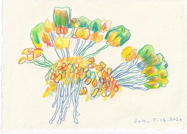 Tagebucheintrag 05.12.2020, Das Innere der Christrose, Version 2, 20 x 15 cm, Tinte und Aquarell auf Silberburg Büttenpapier, Zeichnung von Susanne Haun (c) VG Bild-Kunst, Bonn 2020.jpg