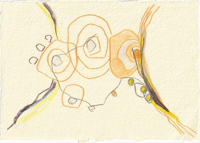 Tagebucheintrag 27.11.2020, Ist der Zufall planbar, 20 x 15 cm, Buntstift auf Silberburg Büttenpapier, Zeichnung von Susanne Haun (c) VG Bild-Kunst, Bonn 2020