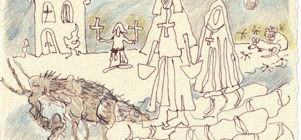 Tagebucheintrag 29.11.2020, Dekameron, Moenche, deren Anzahl zusammengeschmolzen ist, 20 x 15 cm, Tinte und Buntstift auf Silberburg Büttenpapier, Zeichnung von Susanne Haun (c) VG Bild-Kunst, Bonn 2020