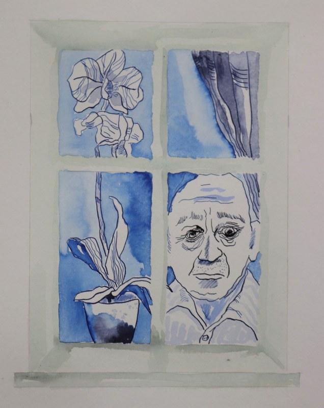 1 Detail Blick aus dem Fenster, 60 x 45 cm Zeichnung von Susanne Haun
