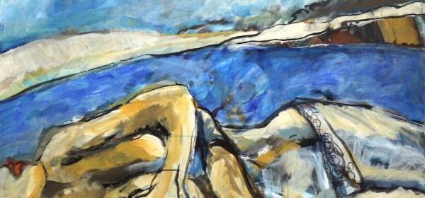 Träumende Meerjungfrau, Gemälde von Susanne Haun, 80 x 100 x 2 cm (c) VG Bild-Kunst, Bonn 2021.