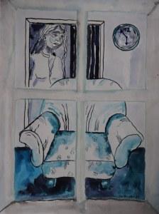12 Blick aus dem Fenster, 60 x 45 cm Zeichnung von Susanne Haun