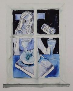 2 Detail Blick aus dem Fenster, 60 x 45 cm Zeichnung von Susanne Haun