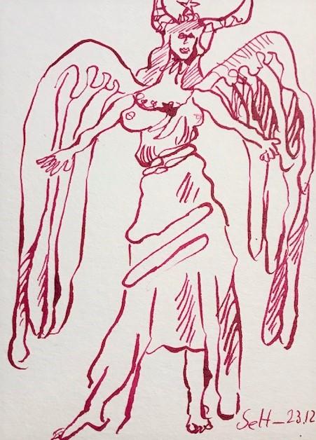 Engel mit Hörner, 12 x 17 cm, Tusche auf Aquarellkartion, Zeichnung von Susanne Haun (c) VG Bild-Kunst, Bonn 2021