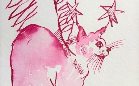 Geflügelter Kater, 12 x 17 cm, Tusche auf Aquarellkartion, Zeichnung von Susanne Haun (c) VG Bild-Kunst, Bonn 2021