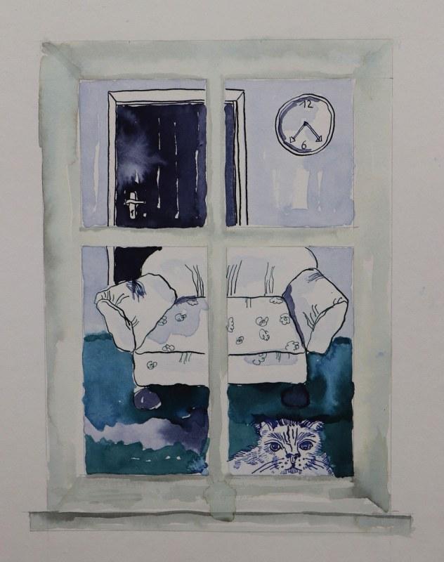 4 Detail Blick aus dem Fenster, 60 x 45 cm Zeichnung von Susanne Haun