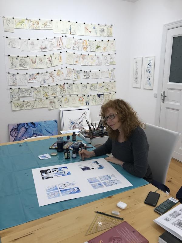 Entstehung Blick aus dem Fenster, Zeichnung von Susanne Haun (c) VG Bild-Kunst, Bonn 2021