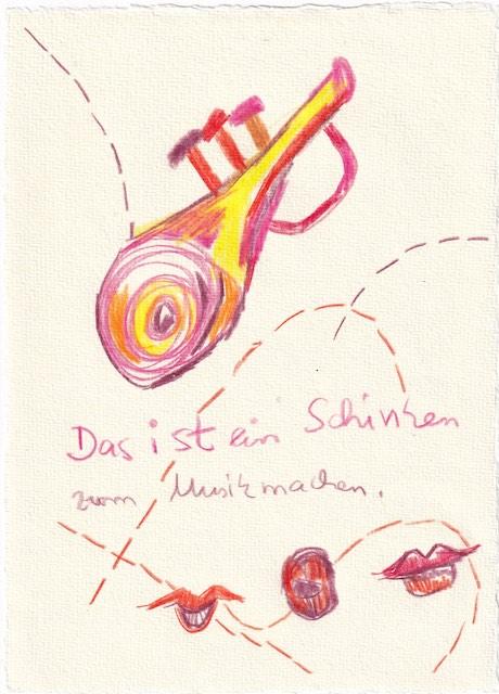 Tagebucheintrag 10.01.2021, Das ist ein Schinken, 20 x 15 cm, Buntstift auf Silberburg Büttenpapier, Zeichnung von Susanne Haun (c) VG Bild-Kunst, Bonn 2021