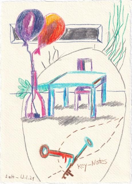 Tagebucheintrag 13.01.2021, Wohnen - Key Notes, 20 x 15 cm, Tinte und Aquarell auf Silberburg Büttenpapier, Zeichnung von Susanne Haun (c) VG Bild-Kunst, Bonn 2021
