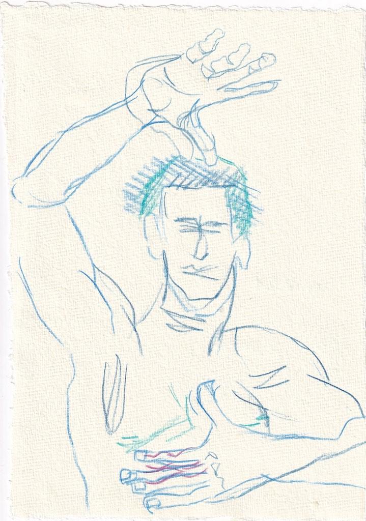 Tagebucheintrag 17.1.2021, Dekameron, Dioneo, 20 x 15 cm, Buntstift auf Silberburg Büttenpapier, Zeichnung von Susanne Haun (c) VG Bild-Kunst, Bonn 2020