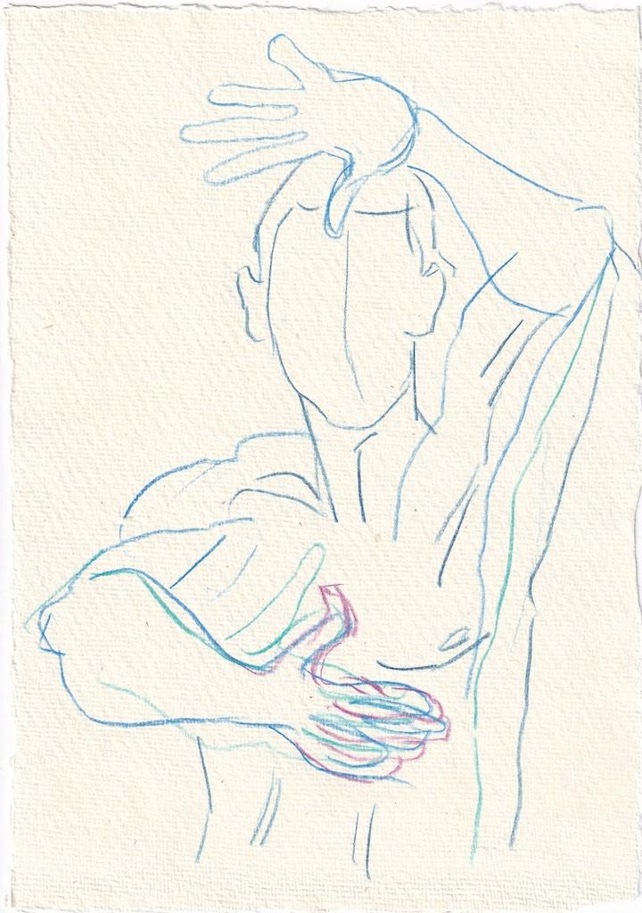 Tagebucheintrag 17.1.2021, Dekameron, Dioneo - Version 1, 20 x 15 cm, Buntstift auf Silberburg Büttenpapier, Zeichnung von Susanne Haun (c) VG Bild-Kunst, Bonn 2020