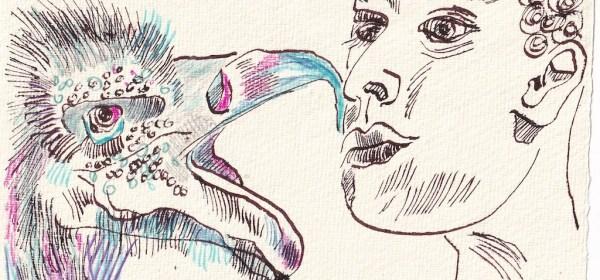 Tagebucheintrag 19.01.2021, Kommunikation, 20 x 15 cm, Tinte und Aquarell auf Silberburg Büttenpapier, Zeichnung von Susanne Haun (c) VG Bild-Kunst, Bonn 2021