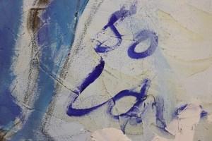 Detail, Panta rhei, Alles Fließt, Sie macht Musik, stehender Akt, Gemälde von Susanne Haun (c) VG Bild-Kunst, Bonn 2021