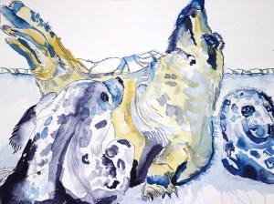 Grey Seals, Kegelrobben, Gemeinsam sind wir stark, Zeichnung von Susanne Haun, 50 x 65 cm, Tusche auf Aquarellkarton (c) VG Bild-Kunst, Bonn 2021