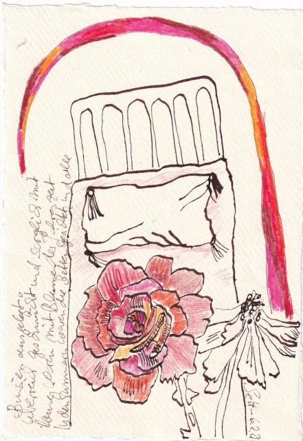 Tagebucheintrag 06.02.2021, Dekameron, In den Zimmern waren die Betten, Version 2, 20 x 15 cm, Tinte und Buntstift auf Silberburg Büttenpapier, Zeichnung von Susanne Haun (c) VG Bild-Kunst, Bonn 2021