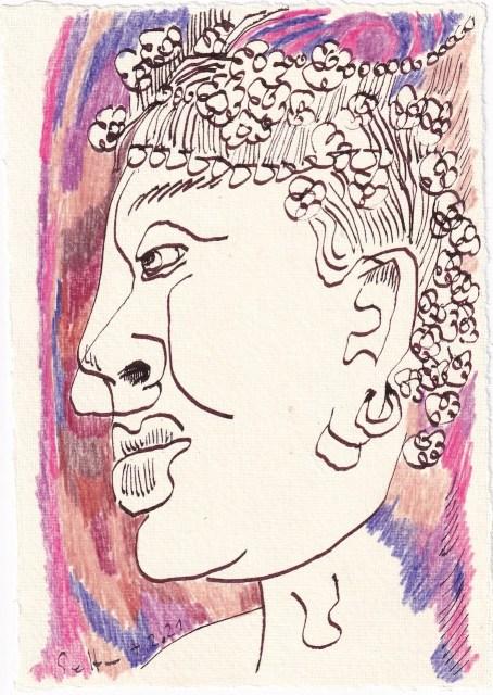 Tagebucheintrag 07.02.2021, Der Geruch von Veilchen, 20 x 15 cm, Tinte und Buntstift auf Silberburg Büttenpapier, Zeichnung von Susanne Haun (c) VG Bild-Kunst, Bonn 2021