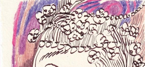 Tagebucheintrag 07.02.2021, Detail - Der Geruch von Veilchen, 20 x 15 cm, Tinte und Buntstift auf Silberburg Büttenpapier, Zeichnung von Susanne Haun (c) VG Bild-Kunst, Bonn 2021