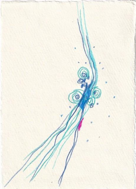 Tagebucheintrag 09.02.2021, Aufregung, 20 x 15 cm, Buntstift auf Silberburg Büttenpapier, Zeichnung von Susanne Haun (c) VG Bild-Kunst, Bonn 2021