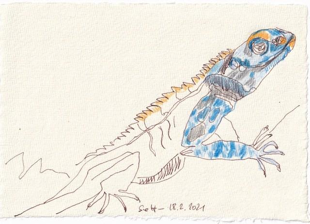 Tagebucheintrag 18.02.2021, Vers. 2 Echse, 20 x 15 cm, Tinte und Buntstift auf Silberburg Büttenpapier, Zeichnung von Susanne Haun (c) VG Bild-Kunst, Bonn 2021