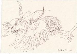 Tagebucheintrag 20.02.2021, Vers. 1, Wolpertinger, 20 x 15 cm, Tinte auf Silberburg Büttenpapier, Zeichnung von Susanne Haun (c) VG Bild-Kunst, Bonn 2021