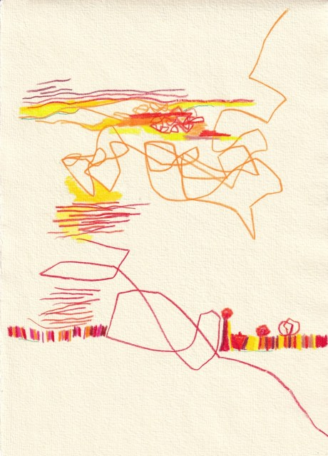 crossart for future, Unser Planet wird heiss, 30 x 20 cm, Buntstift und Tinte auf Silberburg Büttenpapier, Zeichnung von Susanne Haun (c) VG Bild-Kunst, Bonn 2021