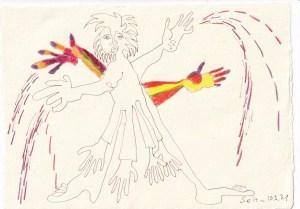 Tagebucheintrag 10.03.2021, Wer ist der kränkste chronisch Kranke, 20 x 15 cm, Tinte und Buntstift auf Silberburg Büttenpapier, Zeichnung von Susanne Haun (c) VG Bild-Kunst, Bonn 2021