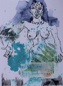 2021 02 05 Perlenkette, 32 x 24 cm, Druck und Zeichnung von Kerstin Mempel und Susanne Haun (c) VG Bild-Kunst, Bonn 2021