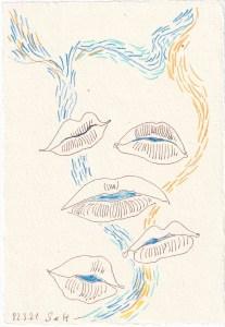 Tagebucheintrag 21.03.2021, Dekameron, Geschichten erzählen, Version 2, 20 x 15 cm, Tinte und Aquarell auf Silberburg Büttenpapier, Zeichnung von Susanne Haun (c) VG Bild-Kunst, Bonn 2021