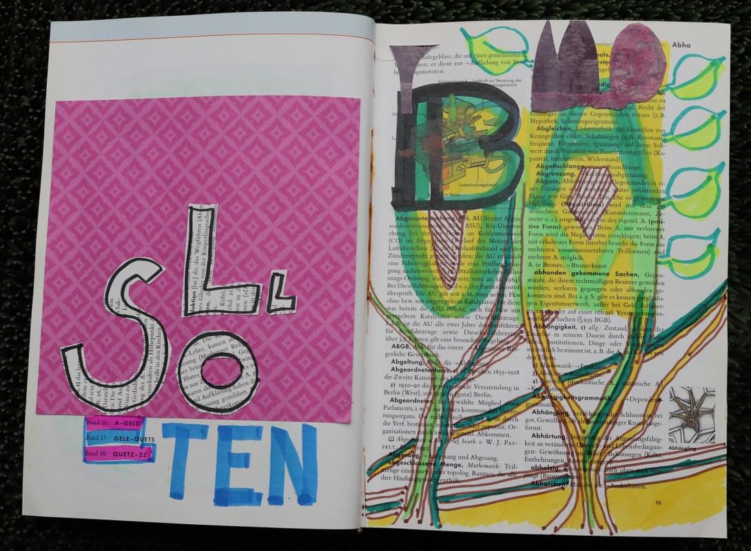 Klarer Ausdrücken, 24 x 37 cm cm, Marker auf Brockhaus, Aneignung, Zeichung von Susanne Haun (c) VG Bild-Kunst, Bonn 2021