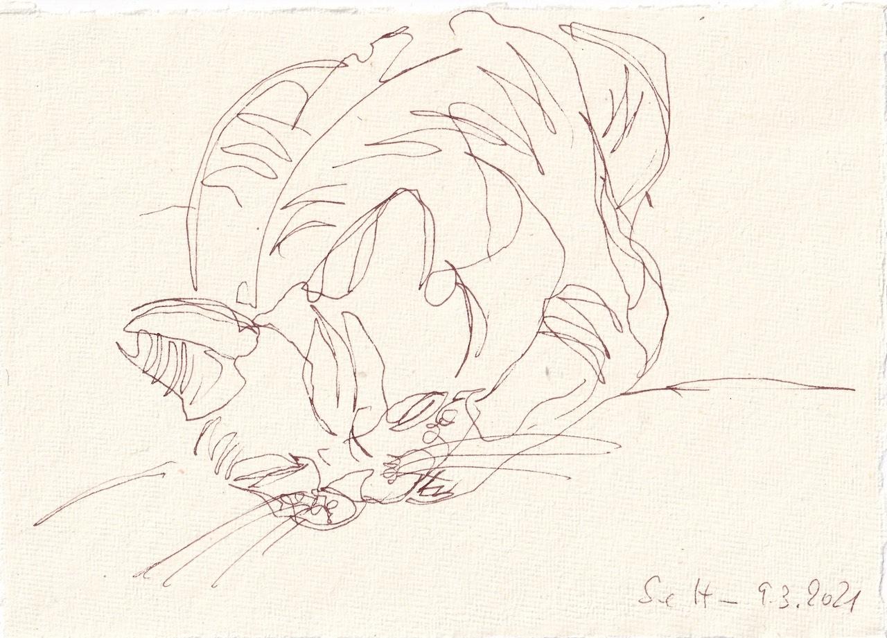 Tagebucheintrag 09.03.2021, Katzen Bewegung, Version 2, 20 x 15 cm, Tinte auf Silberburg Büttenpapier, Zeichnung von Susanne Haun (c) VG Bild-Kunst, Bonn 2021