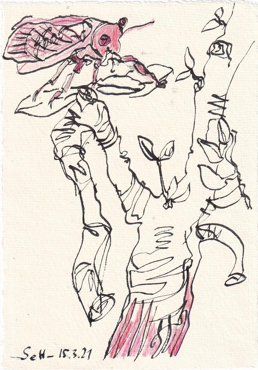 Tagebucheintrag 15.3.2021, Das Dekameron, Zikarden in Ölivenbäumen, Version 3, 20 x 15 cm, Buntstift und Tinte auf Silberburg Büttenpapier, Zeichnung von Susanne Haun (c) VG Bild-Kunst, Bonn 2021.
